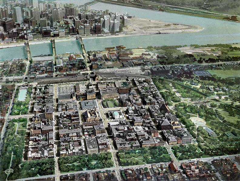 1953 aerial rendering overlay