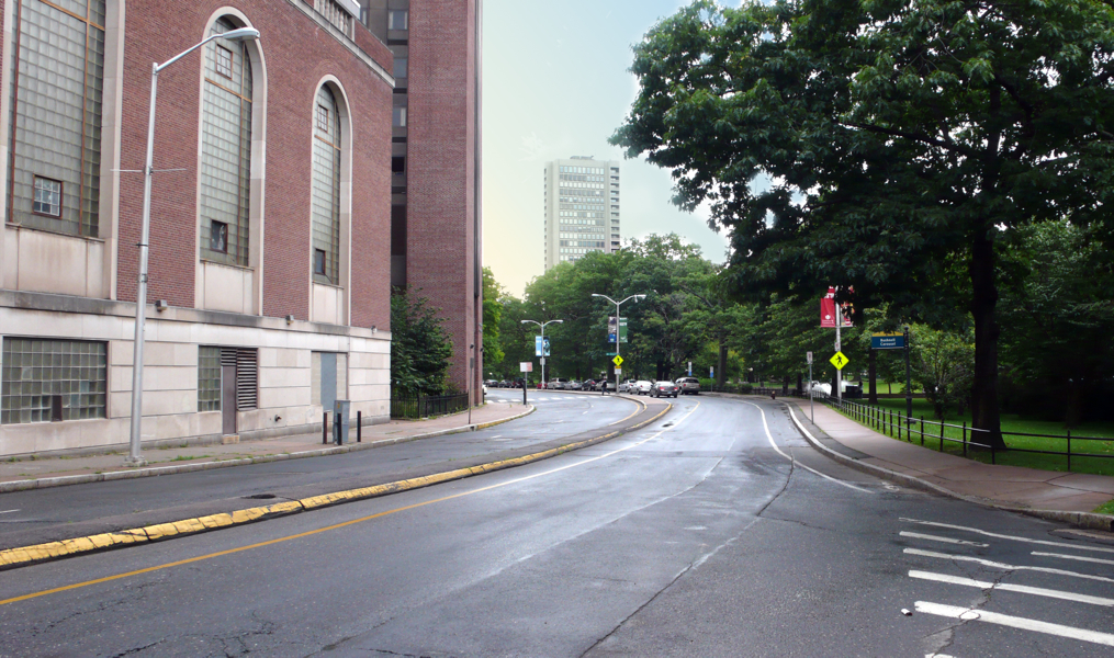 Before   after images of proposed new promenade along Bushnell Park North