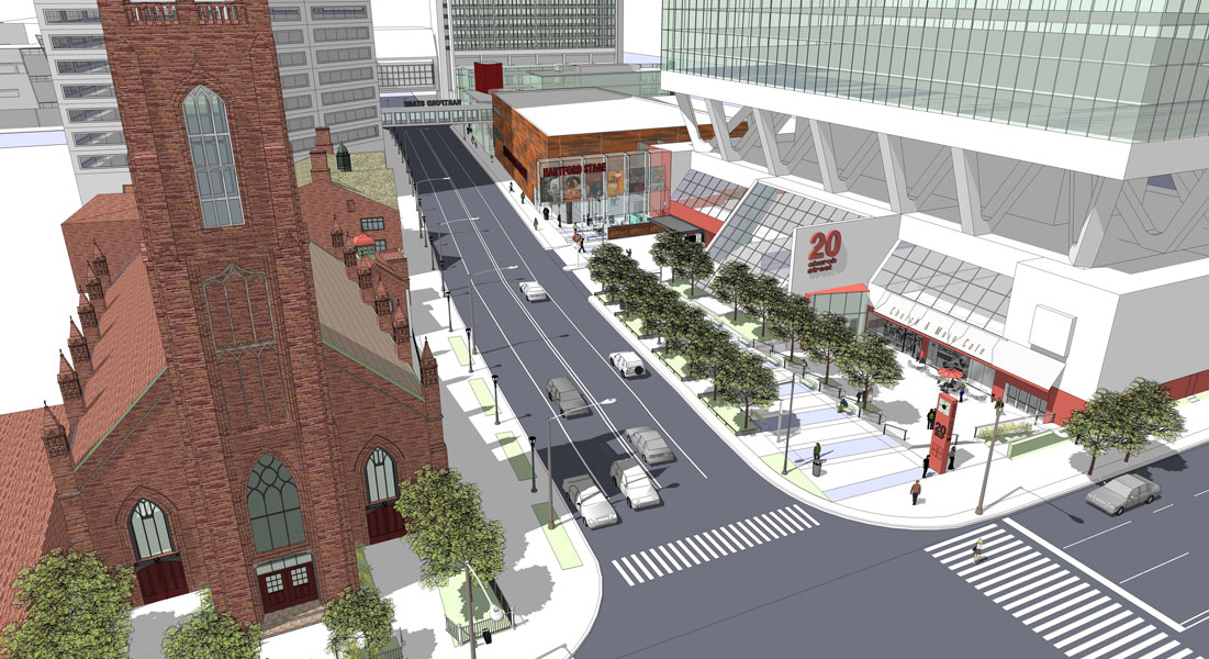 A new vision for Church and Main—where theater, commerce, cathedral, and college meet