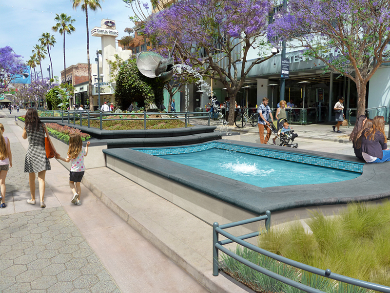 Fountain improvements on the Third Street Promenade